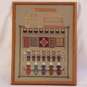 Homestead Scene Framed Cross Stitch Needlework